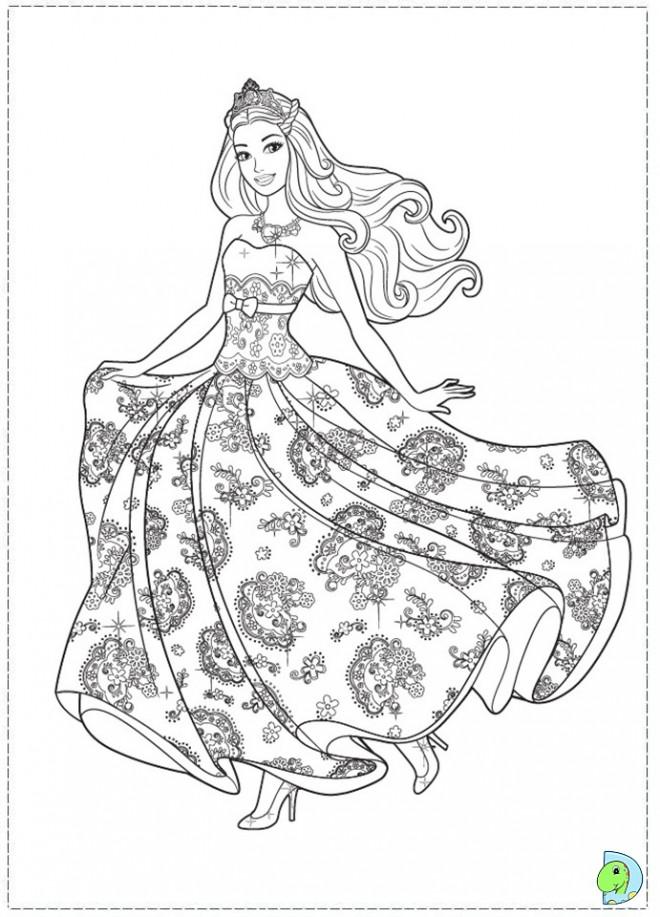 Coloriage et dessins gratuits Princesse Barbie en robe magnifique à imprimer