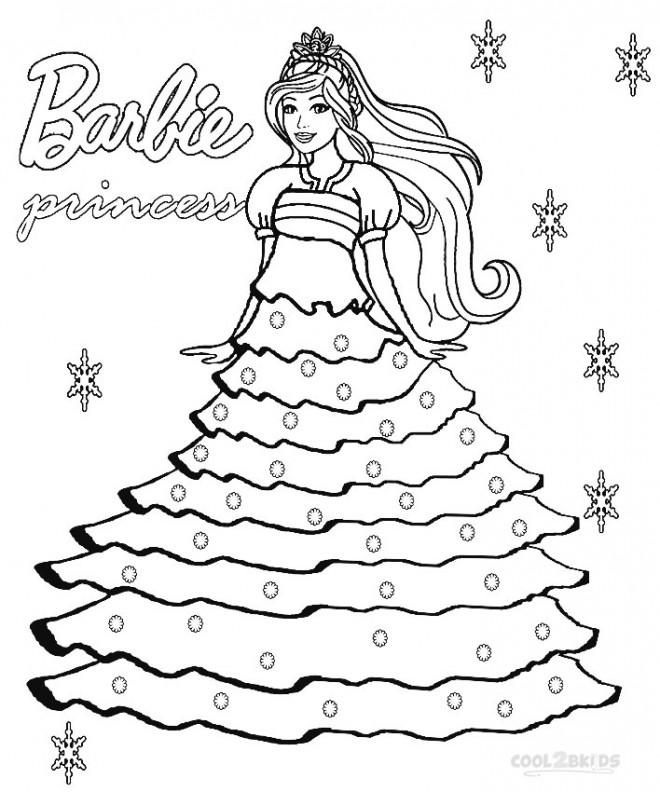 Coloriage et dessins gratuits Princesse Barbie et Flocon de Neige à imprimer