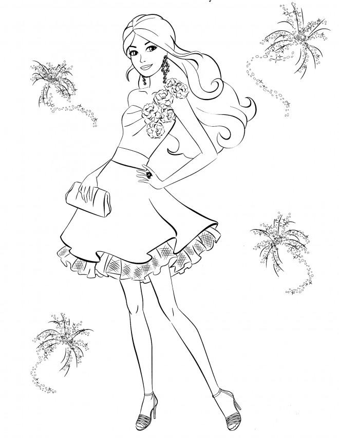 Coloriage et dessins gratuits Princesse Barbie et La Mode à imprimer