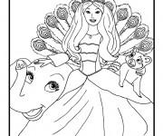 Coloriage Princesse Barbie et Les Animaux