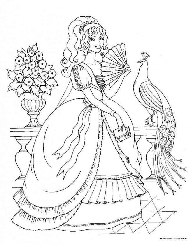 Coloriage et dessins gratuits Princesse Barbie et Paon à imprimer