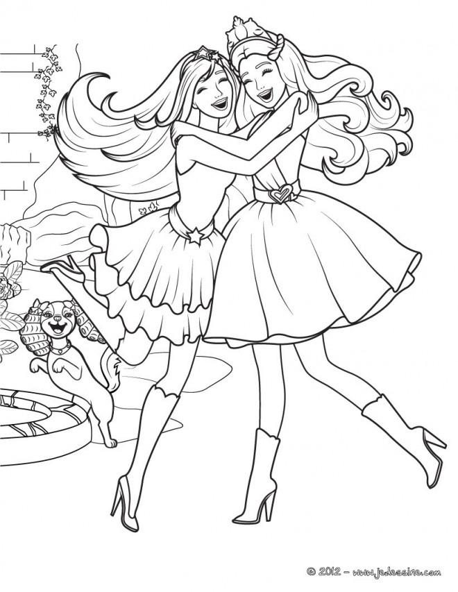 Coloriage Princesse Barbie Et Sa Meilleur Amie Dessin Gratuit A