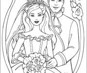 Coloriage Princesse Barbie et son mari