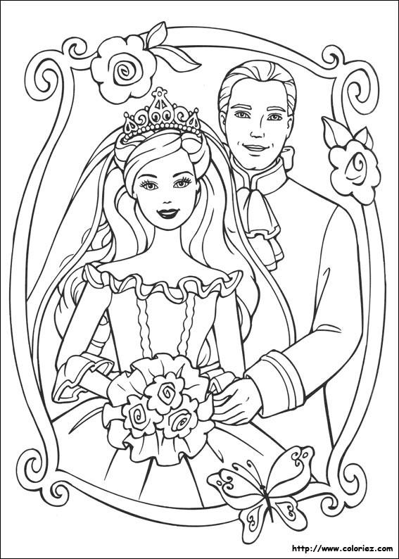 Coloriage et dessins gratuits Princesse Barbie et son mari à imprimer