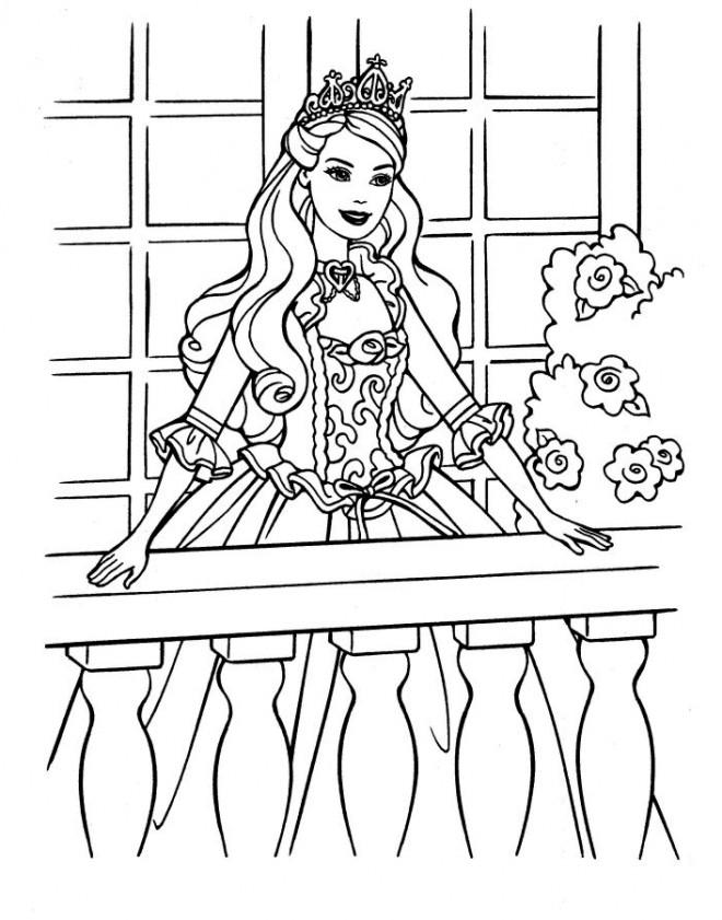 Coloriage et dessins gratuits Princesse Barbie mignonne à imprimer