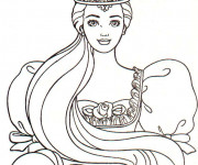 Coloriage Princesse Barbie portant la Couronne