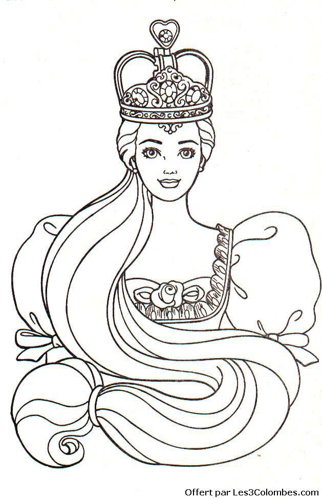 Coloriage et dessins gratuits Princesse Barbie portant la Couronne à imprimer