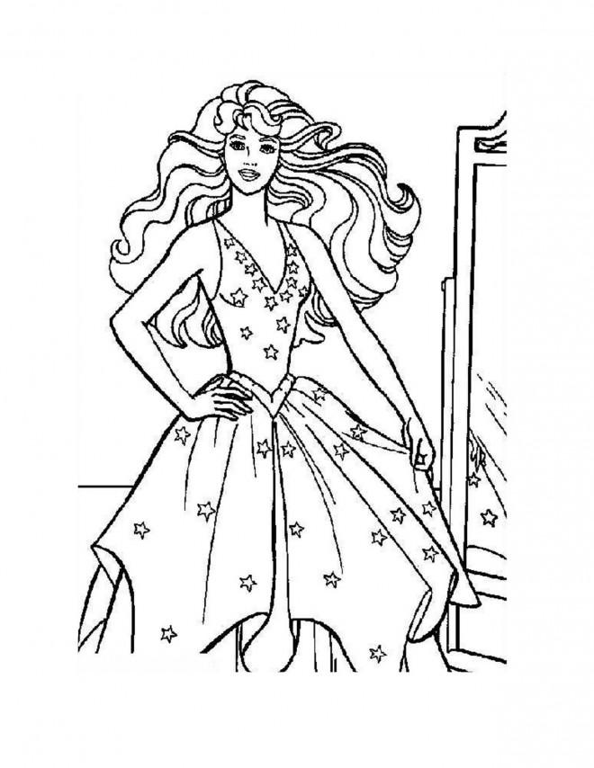 Coloriage et dessins gratuits Princesse Barbie pour filles à imprimer