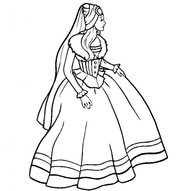 Coloriage et dessins gratuits Princesse Barbie stylisé à imprimer