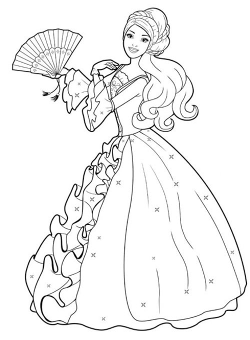 Coloriage et dessins gratuits Princesse Barbie vecteur à imprimer