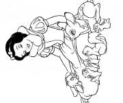 Coloriage dessin  Blanche avec les animaux 2