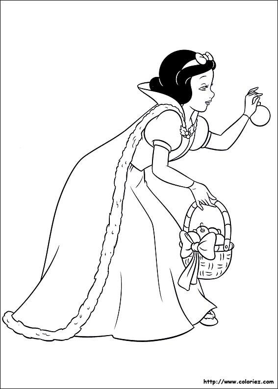 Coloriage et dessins gratuits Blanche cueille une pomme à imprimer