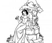 Coloriage et dessins gratuit blanche neige chante avec l'oiseau à imprimer