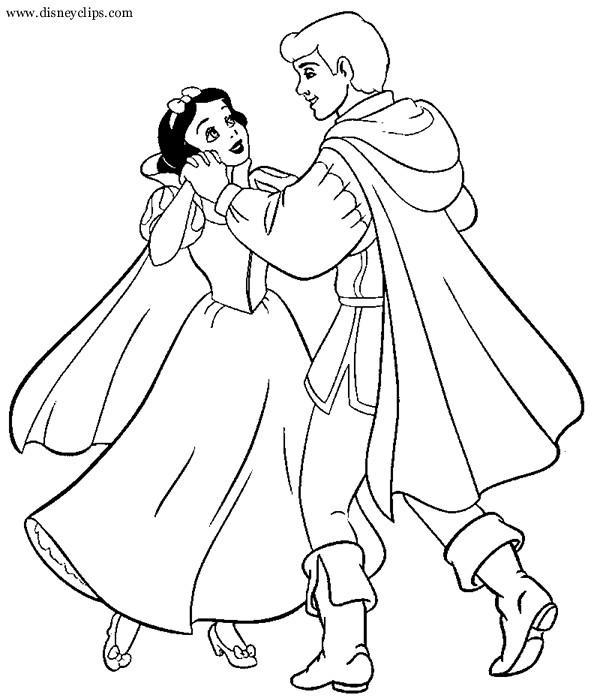 Coloriage Princesse Qui Danse Avec Prince.Coloriage Blanche Neige Danse Avec Le Prince Dessin Gratuit A Imprimer