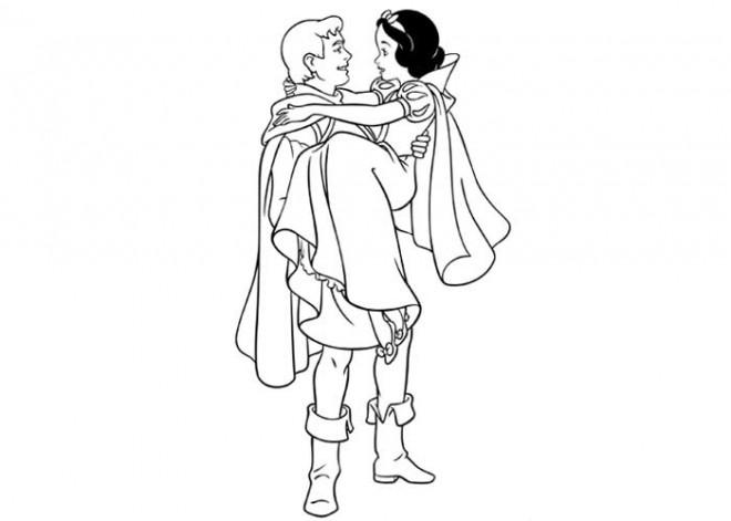 Coloriage et dessins gratuits Blanche Neige et son héro à imprimer