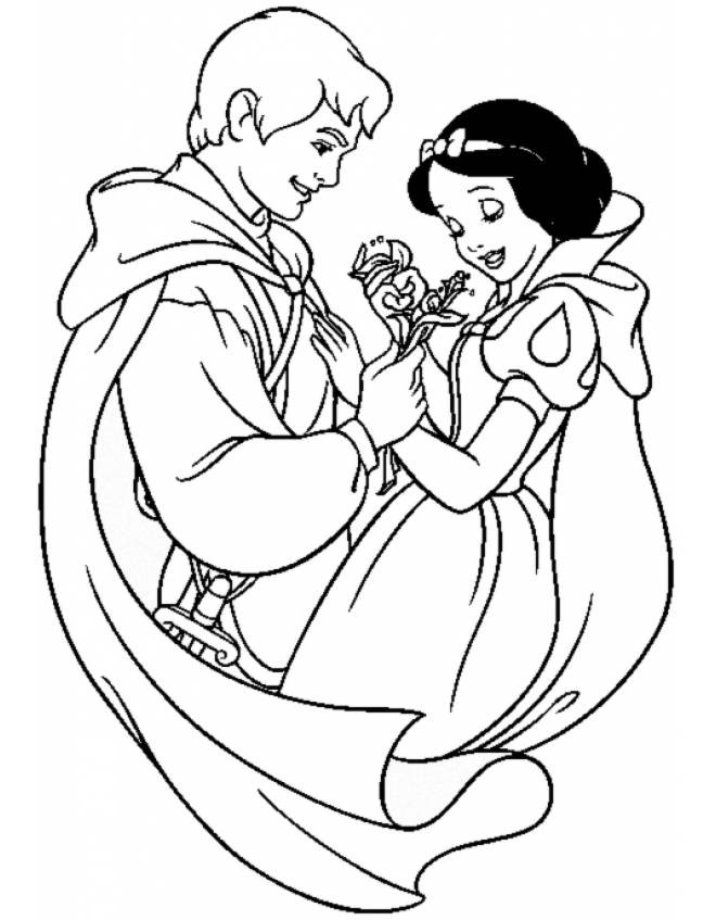 Coloriage et dessins gratuits Blanche Neige et son mari en amour à imprimer