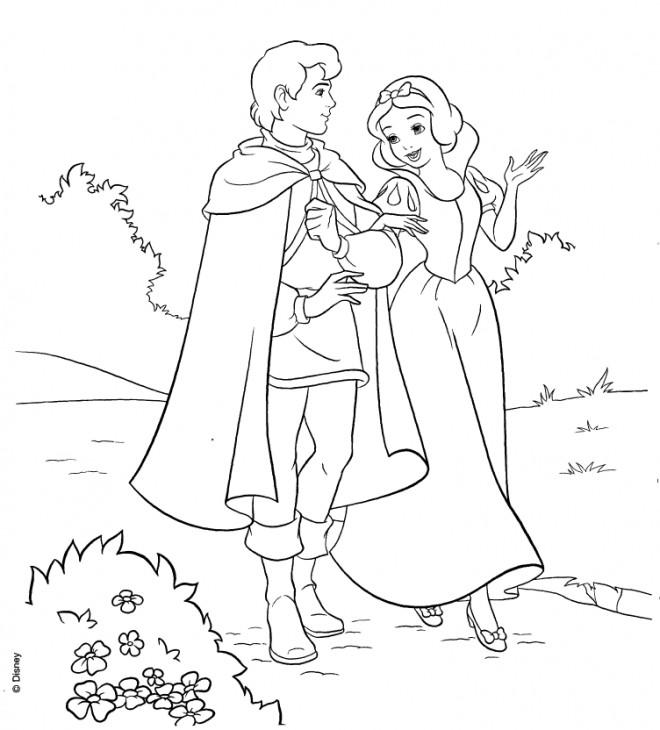 Coloriage et dessins gratuits Blanche Neige se balade avec le prince à imprimer