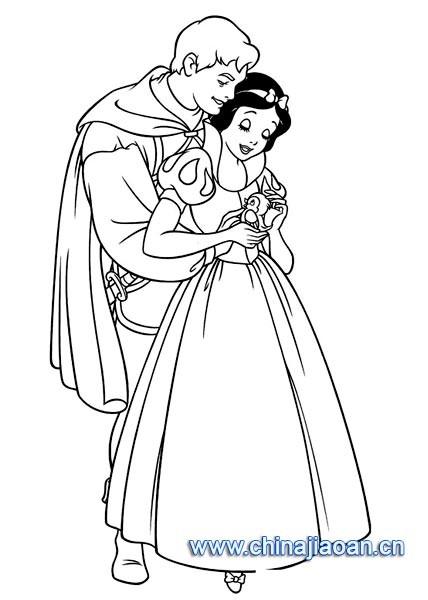 Coloriage et dessins gratuits L'amour de Prince et Blanche Neige à imprimer