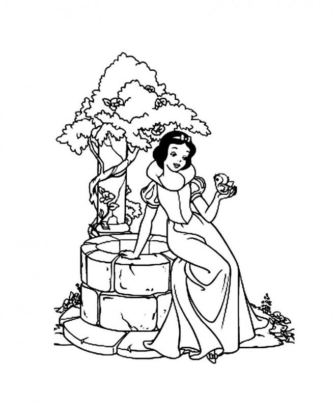 Coloriage et dessins gratuits La Blanche Neige et son oiseau à imprimer
