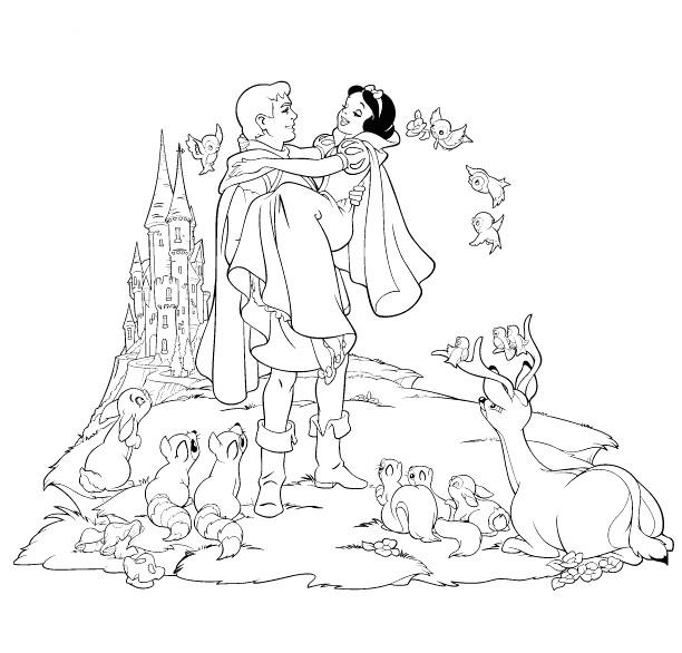 Coloriage et dessins gratuits La joie de Princesse Blanche Neige avec le prince à imprimer