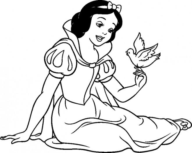 Coloriage et dessins gratuits Pigeon sur les doigts de Blanche Neige à imprimer