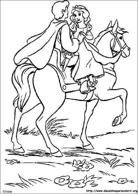 Coloriage et dessins gratuits Prince et  Blanche Neige sur le cheval à imprimer