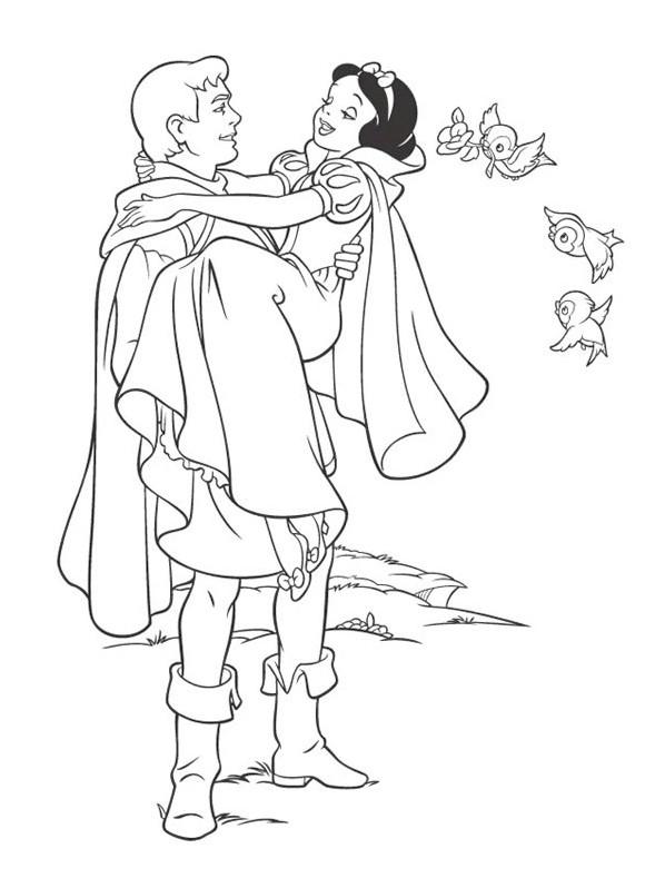Coloriage et dessins gratuits Princesse Blanche Neige amoureuse à imprimer