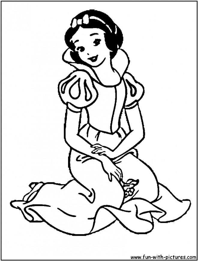 Coloriage et dessins gratuits Princesse Blanche Neige assise à imprimer