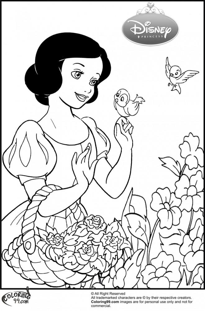 Coloriage et dessins gratuits Princesse Blanche Neige collecte des Fleurs à imprimer