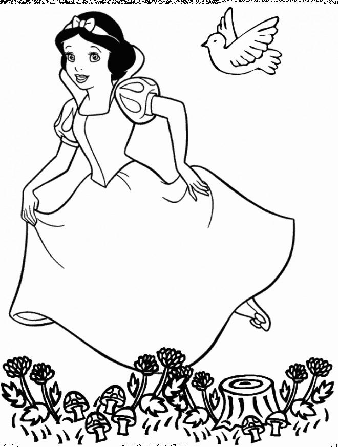 Coloriage et dessins gratuits Princesse Blanche Neige dans la Forêt à imprimer