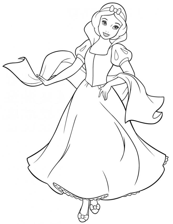 Coloriage et dessins gratuits Princesse Blanche Neige déguisement à imprimer