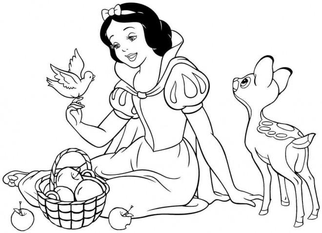 Coloriage et dessins gratuits Princesse Blanche Neige en parlan l'oiseau à imprimer