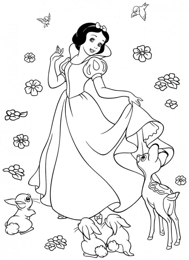 Coloriage De Princesse Blanche Neige A Imprimer.Coloriage Princesse Blanche Neige Entouree Par Des Fleurs