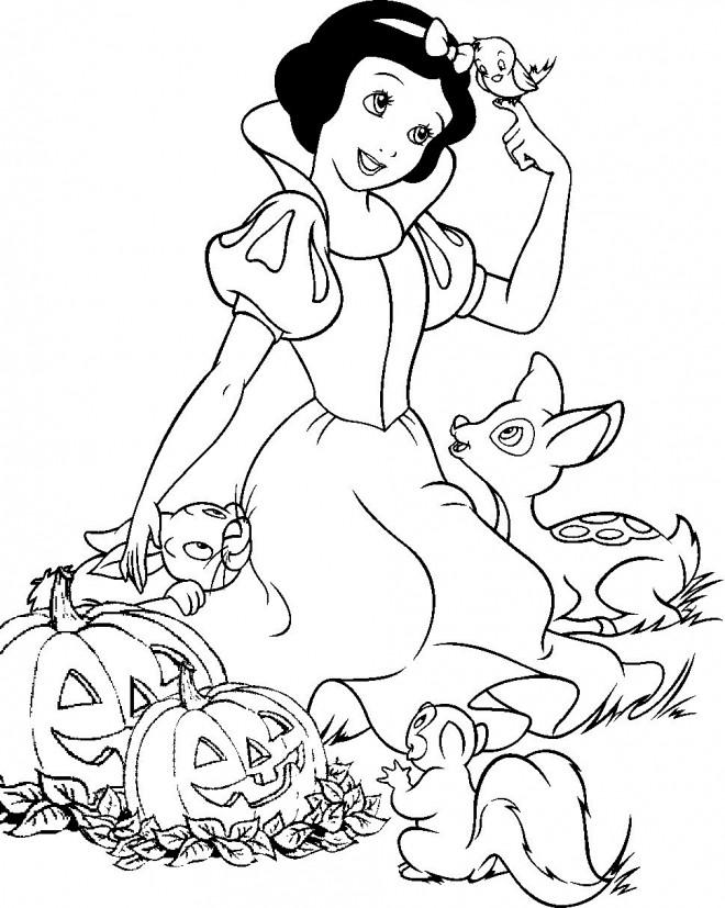 Coloriage et dessins gratuits Princesse Blanche Neige et Halloween à imprimer