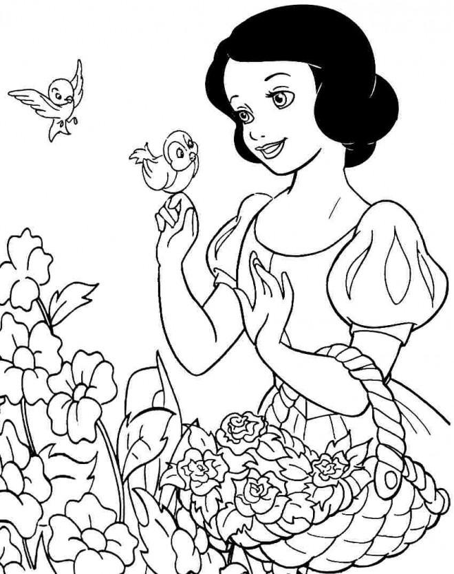 Coloriage Princesse Blanche Neige et l'amour de la nature