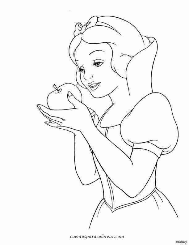 Coloriage De Princesse Blanche Neige A Imprimer.Coloriage Princesse Blanche Neige Et La Pomme Empoisonnee