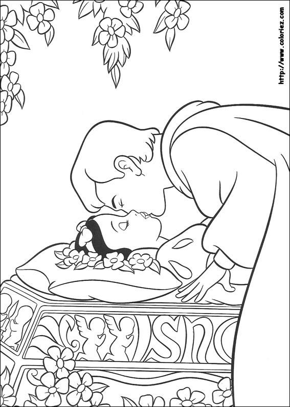 Coloriage et dessins gratuits Princesse Blanche Neige et le baiser magique à imprimer