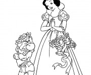 Coloriage et dessins gratuit Princesse Blanche Neige et le nain à imprimer