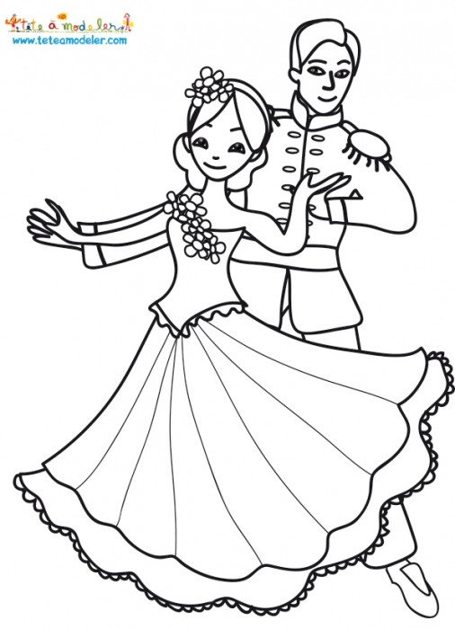 Coloriage et dessins gratuits Princesse Blanche Neige et le Prince en dansant à imprimer