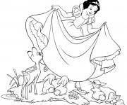 Coloriage et dessins gratuit Princesse Blanche Neige et les animaux à imprimer