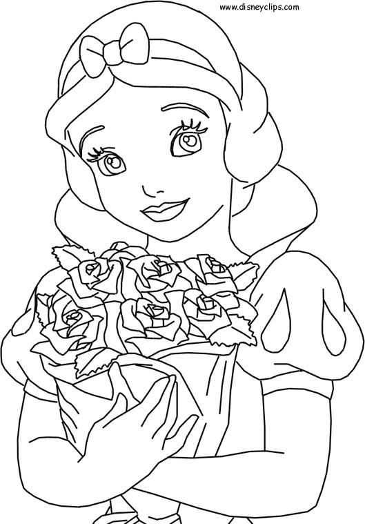 Coloriage et dessins gratuits Princesse Blanche Neige porte un bouquet de Fleurs à imprimer