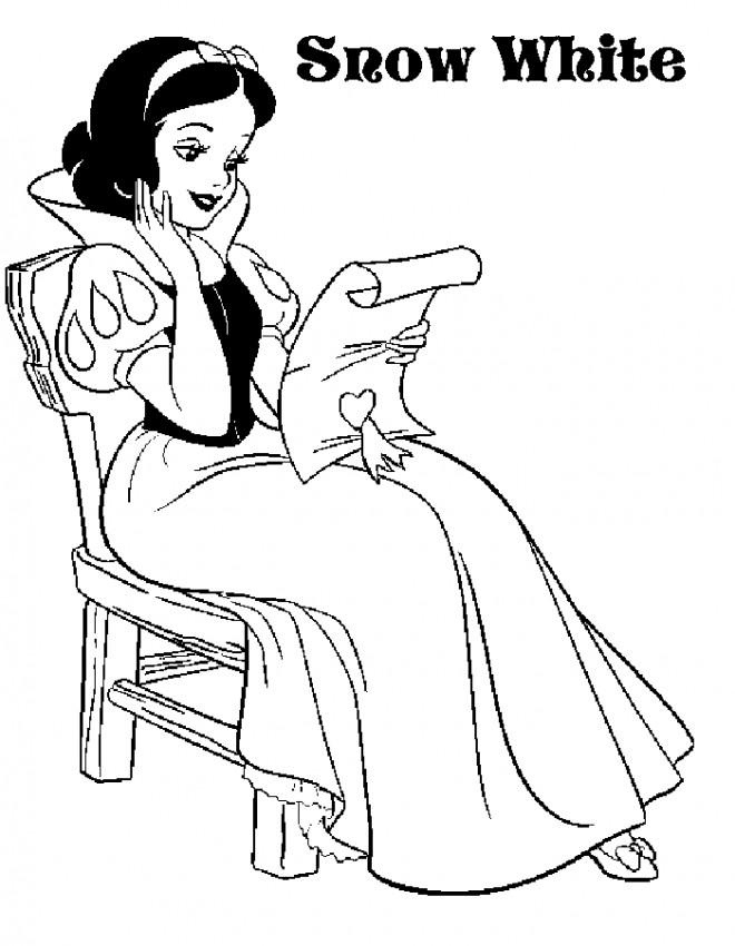 Coloriage princesse blanche neige pour enfant dessin - Coloriage blanche neige a imprimer gratuit ...