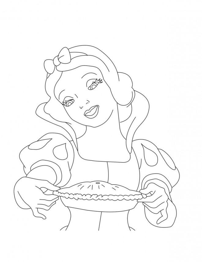 Coloriage et dessins gratuits Princesse Blanche Neige prépare une tarte à imprimer