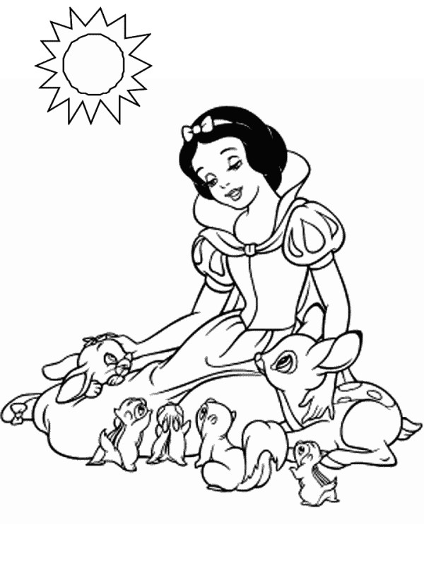 Coloriage et dessins gratuits Princesse Blanche Neige sous le soleil à imprimer
