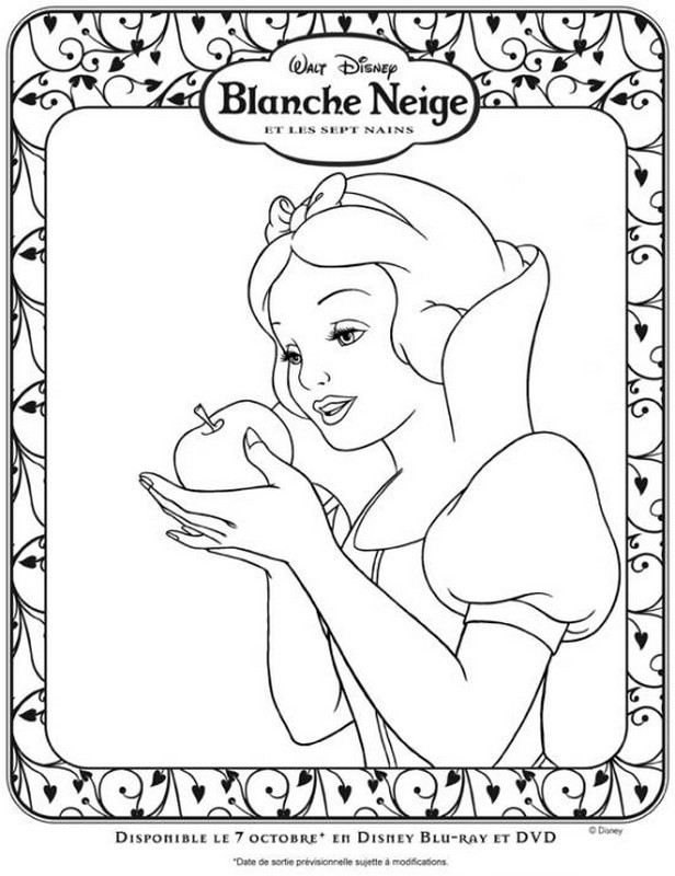 Coloriage et dessins gratuits Princesse Blanche Neige Walt Disney à imprimer