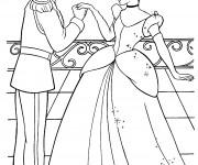 Coloriage Cendrillon dans le Château de Prince