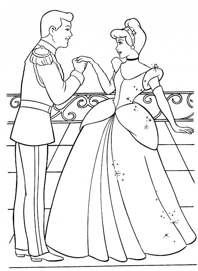 Coloriage et dessins gratuits Cendrillon dans le Château de Prince à imprimer