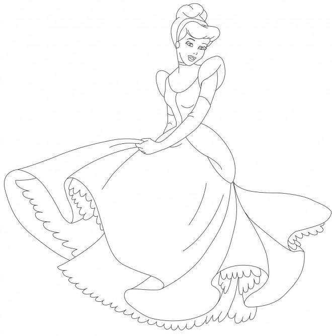 Coloriage et dessins gratuits Cendrillon danse à imprimer
