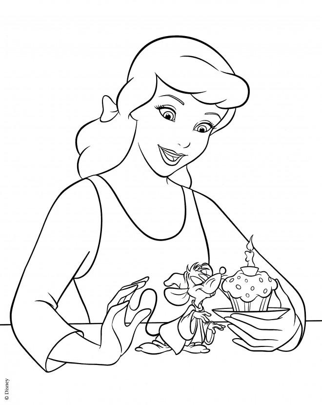 Coloriage et dessins gratuits Cendrillon et L'anniversaire de son petit ami à imprimer