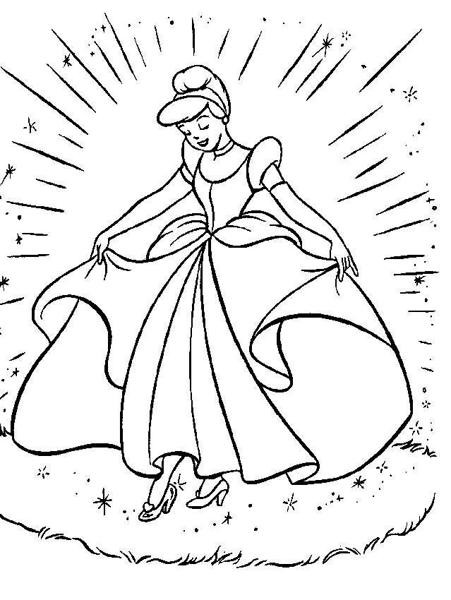 Coloriage et dessins gratuits Cendrillon et sa robe magique à imprimer
